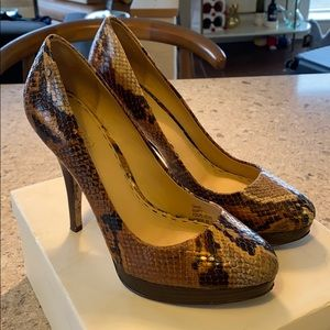 Coach Buffy Printed Python Leather Heels Size 7